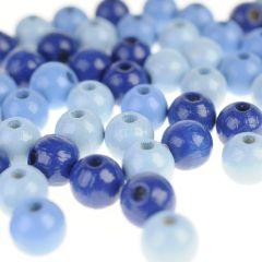 Houten kralen 8 mm 118 stuks mix blauw