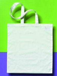 Katoenen zak 38 x 42 cm met lang schouderlint wit