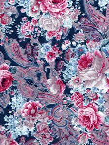 Decopatch papier 30 x 40 cm 3 vel zwart/roze bloemenmotief