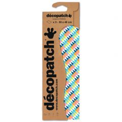 Decopatch papier 30 x 40cm 3 vel gekleurd driehoek
