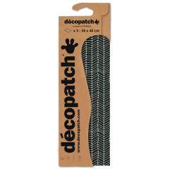 Decopatch papier 30 x 40 cm 3 vel zwart visgraat