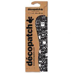 Decopatch papier 30 x 40 cm 3 vel zwart uil