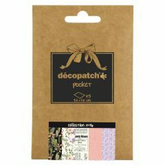 Decopatch papier 30 x 40 cm 5 vel ass. romantisch