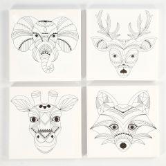 Canvas met opdruk 20 x 20 cm 4 stuks wilde dieren