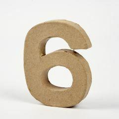 Cijfer karton, hoogte 10 cm, dikte 2 cm - 6