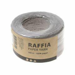 Papier raffia garen 7-8 mm 100 m lichtgrijs