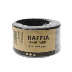 Papier raffia garen 7-8 mm 100 m zwart