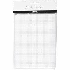 Aida stof 24 vierkanten per 10 cm 50x50 cm wit