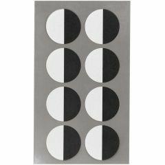 Stickers ogen half 25 mm 32 stuks zwart/wit