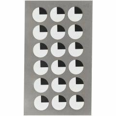 Stickers ogen kwart 15 mm 72 stuks zwart/wit