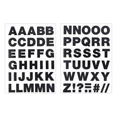 Strijkletters alfabet 67 stuks zwart glitter