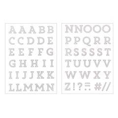 Strijkletters alfabet 67 stuks glitter zilver