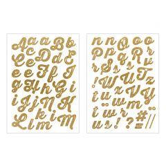 Strijkletters alfabet 67 stuks glitter goud