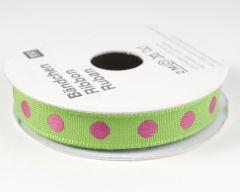 Lint met bolletjes 2 m groen/roze