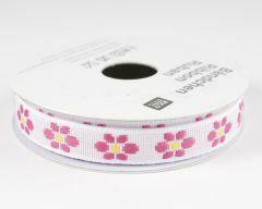 Lint met bloemetjes 2 m wit/roze