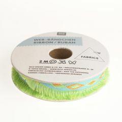 Rico Tropical Lint met franjes 15 mm 2 m groen