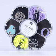 Macramé set voor armbandjes zwart, fluo geel en lila