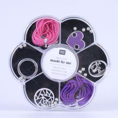 Macramé set voor armbandjes zwart, roze en paars