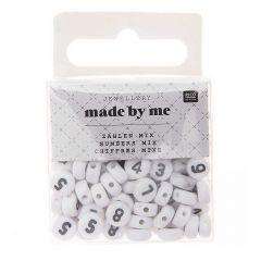 Cijferkralen 7 x 4 mm 165 stuks wit