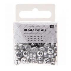 Letterkralen 7 x 4 mm 165 stuks zilver