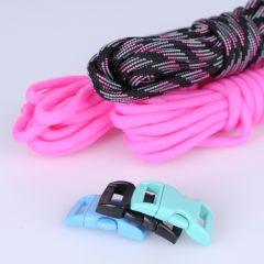 Paracord set 3 x 3 m 3 sluitingen fluo roze, zwart
