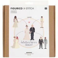 Personaliseerbare borduurset kruisjessteek 20 cm huwelijk