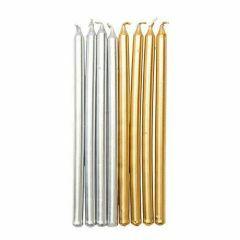 Kaarsjes 12 cm 16 stuks goud/zilver