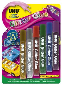 UHU Glitter Glue Original 6 x 10 ml