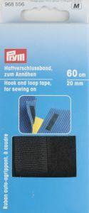 Klittenband opnaaibaar 20 mm breed 60 cm zwart