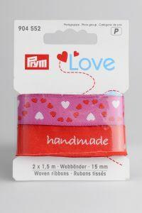 Prym Love linten 15 mm 2 x 1,5 m hart rood