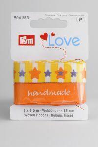 Prym Love linten 15 mm 2 x 1,5 m ster geel