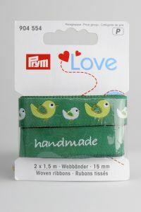 Prym Love linten 15 mm 2 x 1,5 m vogel groen
