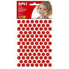 Apli stickers cirkel 10,5 mm 588 stuks rood