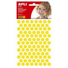 Apli stickers cirkel 10,5 mm 588 stuks geel