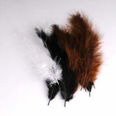 Krea Feathers pluim marabou 10 cm 12 stuks mix zwart