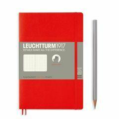 Leuchtturm1917 notitieboek paperback B6+ gestippeld rood