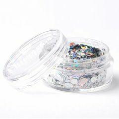 Superstar chunky glittermix 8 ml Laser Silver