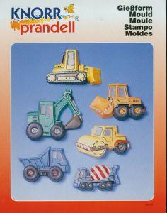 Gietvorm 6 bulldozers en vrachtwagens 7,5 x 5 cm