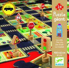 Djeco puzzel De stad 24 stuks en 5 verkeersborden 3+
