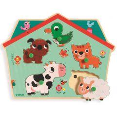 Djeco inlegpuzzel met geluid boerderijdieren 1+