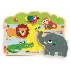 Djeco inlegpuzzel met geluid jungledieren 1+