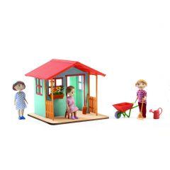 Tuinhuisje met toebehoren voor poppenhuis