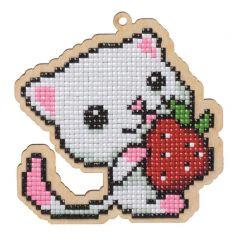Diamond Painting op hout L kat met aardbei