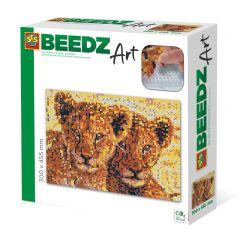 Beedz Art strijkkralen kunstwerk 30x45,5cm leeuwenwelpen