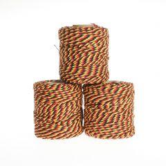 Koord fijn 3 draads 45 m zwart/geel/rood