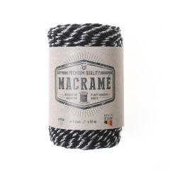 Macramé koord katoen 3 mm 50 m zwart/zilver