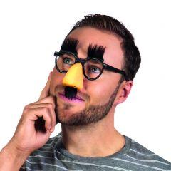Bril slapstick met wenkbrauwen, neus en snor
