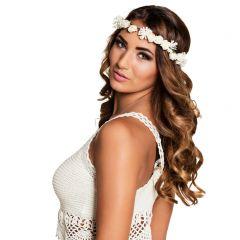Haarband bloemetjes wit