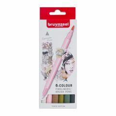 Bruynzeel fineliners/brushpennen 6 stuks - Tokyo