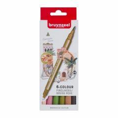 Bruynzeel fineliners/brushpennen 6 stuks - Marrakesh